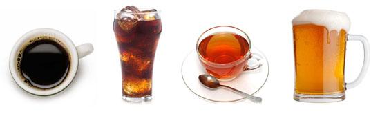 Slechte dranken: koffie, thee, alcohol en fridrank.